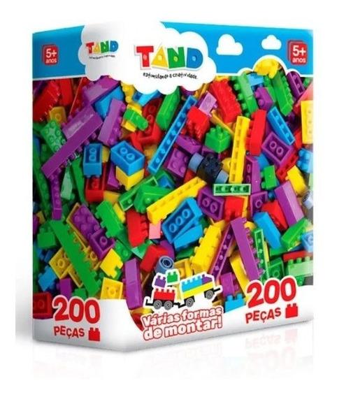 Caixa De Blocos De Montar Com 200 Peças Brinquedo Educativo
