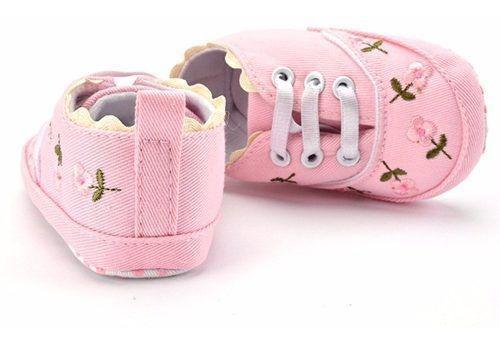 Tenis Infantil Menina Sapato Bebe Floral Importado