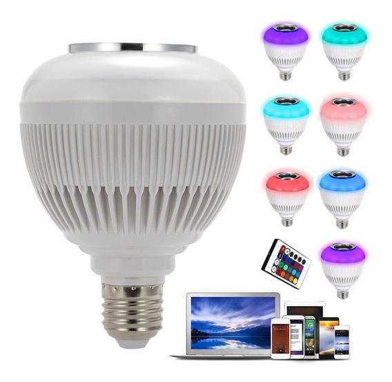 Kit 5 Lâmpada Luz Led Rgb C/ Bluetooth Caixa Som Musica Casa