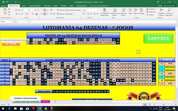 Planilha Lotomania 64 Dezenas 7 Jogos