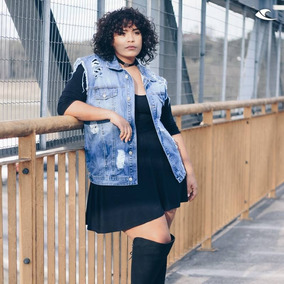 Colete Jeans Plus Size Roupas Feminina Destroyed Grande
