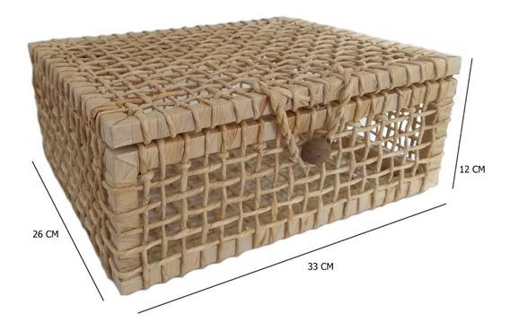 Caixa Baú De Palha De Milho Presente Ref.1418 33x26x12