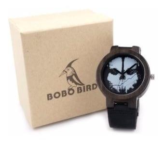 Relógio Masculino Bambu Caveira D24 Madeira Anal. Bobo Bird