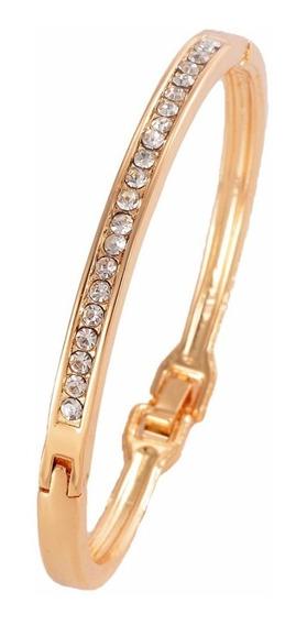 Bracelete Pulseira Dourado Com Strass Pronta Entrega