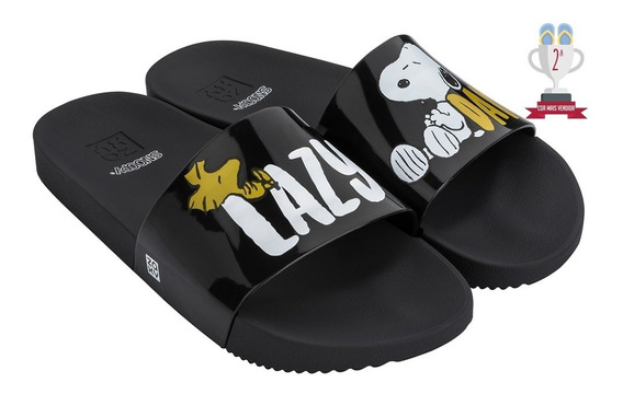 Chinelo Zaxy Snoopy Slide - Preto - Ref. 17.818