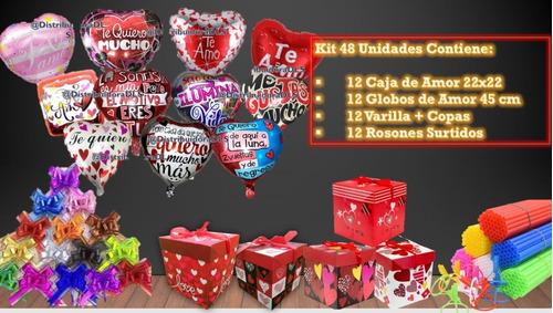 Pack Cajas Dia Del Amor + Globos + Varilla (36 Artículos)