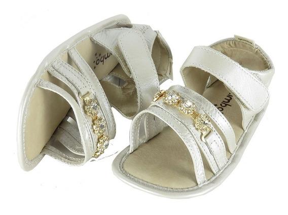 Sandália Infantil Em Couro Macio Glitter Creme Com Abertura