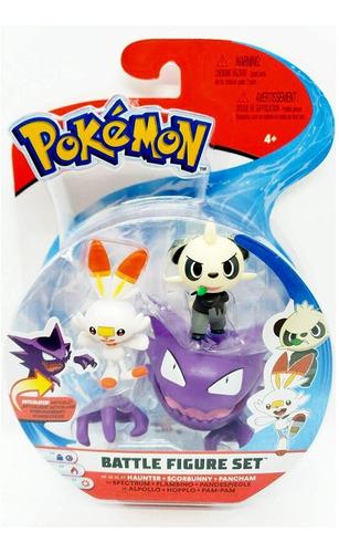 Imagem 1 de 3 de Pokémon Figure Pack 3 Haunter, Scorbunny E Pancham - Wct