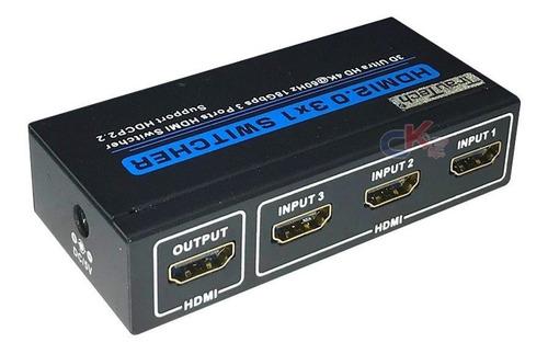Selector Hdmi 2.0 De 3x1 Ultra Hd 4k 60hz Trautech Hdcp 2.2