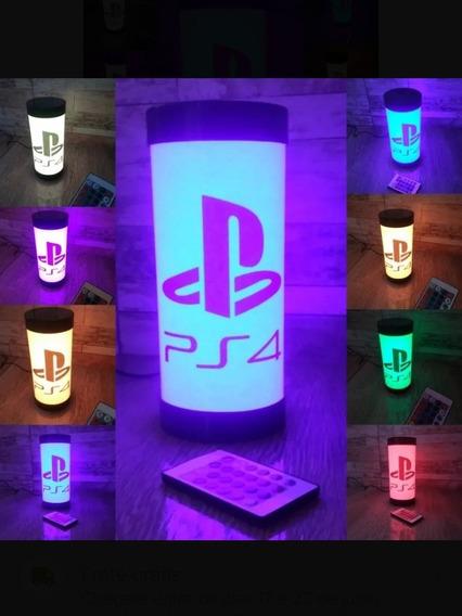 Luminária Abajur De Led Rgb Geek Video Game Ps4 C/ Controle