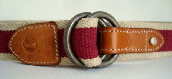 Cinturón Timberland Piel Con Lona 2 Tonos Made In Italy