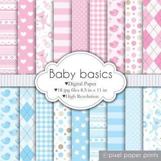 Kits Imprimibles Papel Digital Fondos Baby Basics Ppp