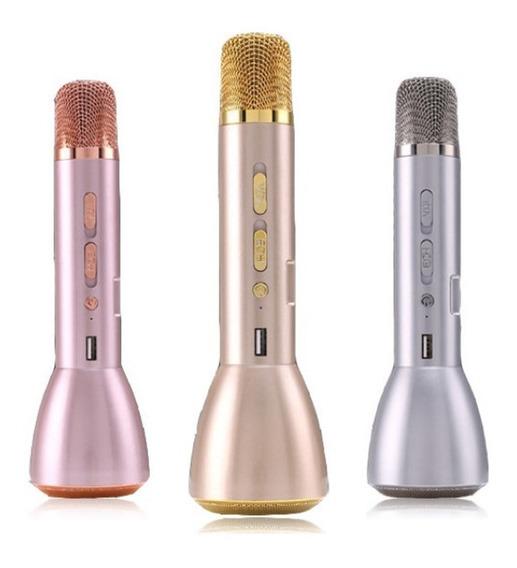 Microfone Bluetooth Karaokê Portátil Sem Fio Usb Aux P2 Ktv
