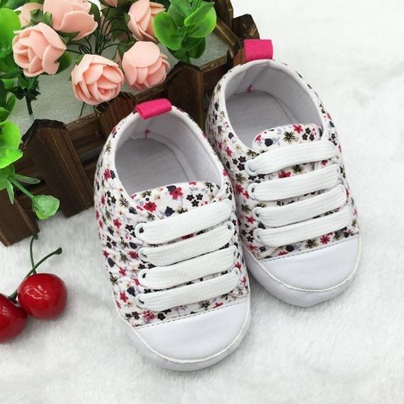 Zapatilla No Caminantes Importados Color Blanco C/ Flores