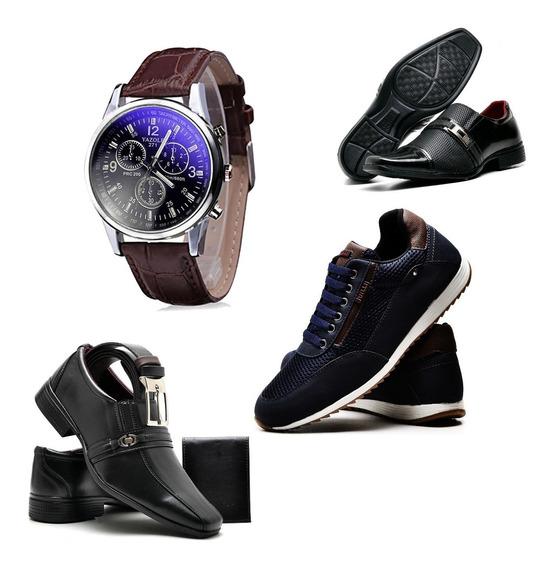 Kit 2 Sapato + 1 Tênis Azul + Relógio + Cinto E Carteira