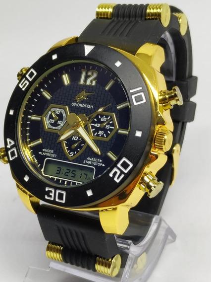 Kit 6x Relógio Luxo Dourado Militar Potenzia Barato + Caixa!