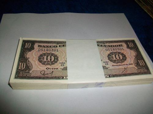 Imagen 1 de 3 de Antiguo Fajo 100 Billetes Ecuador, 10 Sucres Seriados 1.988