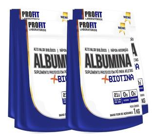 4x Albumina Refil - 1 Kg + Biotina - Profit Labs