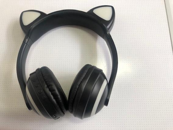 Fone Ouvido Bluetooth Orelha Gato Com Led - Danificado Leia
