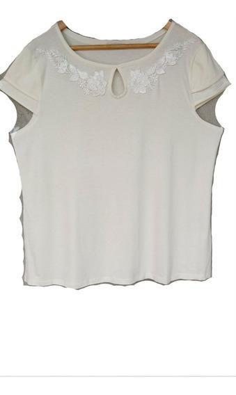 Camisa Casual Feminina Lisa Detalhe De Renda Moda Plus Size