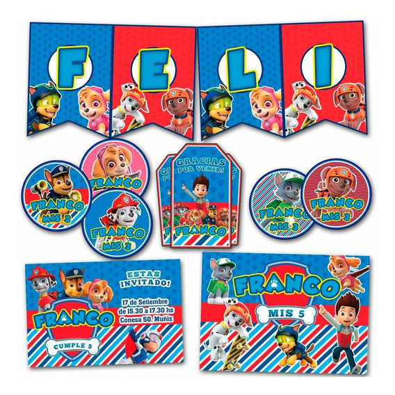 Kit Candy Bar Paw Patrol Stickers Invitaciones Banderín