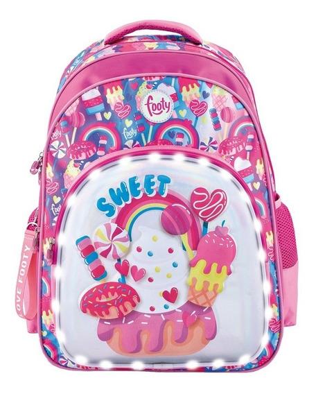 Mochila Espalda 18p Sweet 3d Con Luz Led Footy F1253
