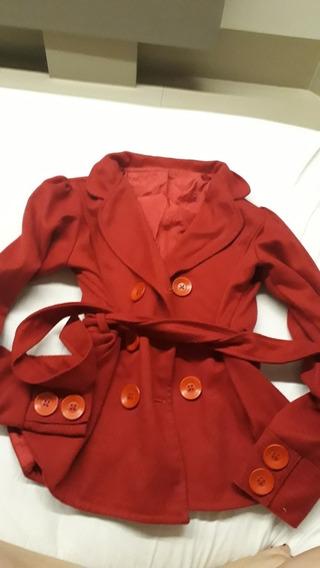 Casaco Jaqueta Vermelho Forrado Inverno De Amarrar Cintura