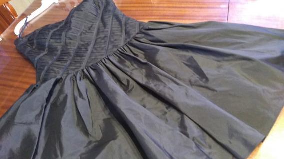 Vestido Strapless Importado Negro Asedado Labrado T M