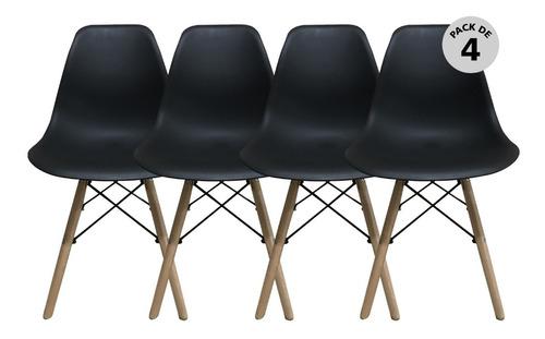 Imagen 1 de 5 de Set De 4 Sillas Modernas Eames Negro Begônia