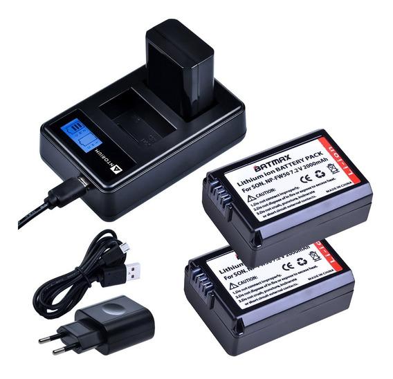 Carregador Duplo +2x Bateria Fw50 Sony A7 A6500 A6400 Batmax