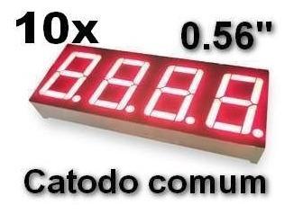 10 Display 7 Segmentos 4 Dígitos 0.56 Catodo Vermelho Arduin