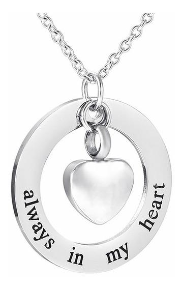 Collar Urna Relicario Cenizas Cremación Acero Inox Corazón