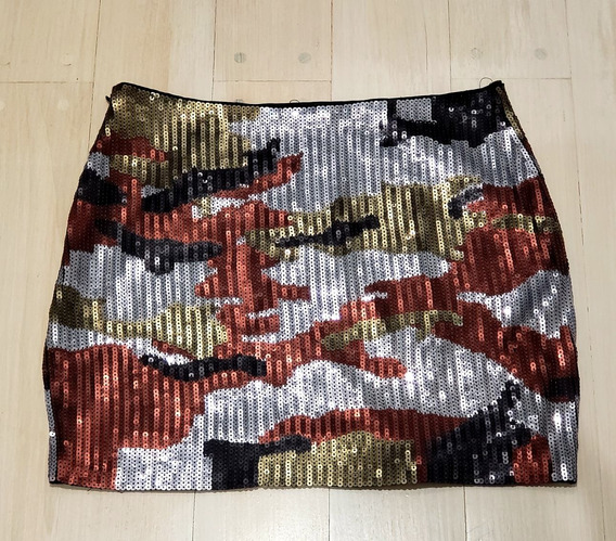 Minifalda Importada Elastizada Paillettes Blue Steel. M.