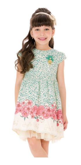 Vestido Infantil Corações Turquesa E Flores Em Tafetá Acetin