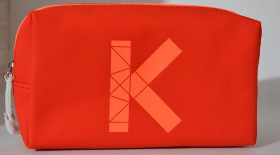 Cosmetiquera Estuchera Kenso Exclusiva Naranja 100% Original Fácil De Limpiar