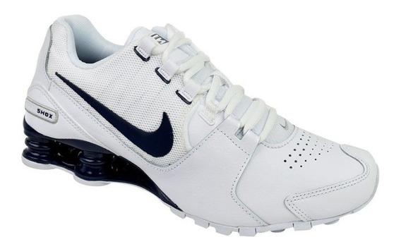 Tênis Nike Shox Avenue Ltr - Branco E Azul Último Par 42
