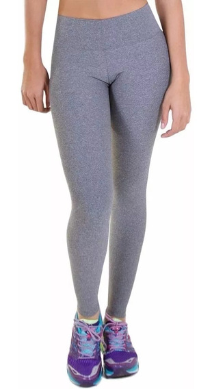 Calza Leggings Supplex Tiro Alto Cintura Ancha Negra O Gris