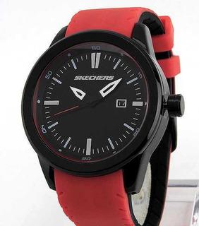 Reloj Skechers De Hombre,dial Negro Y Malla Roja, Sr5005