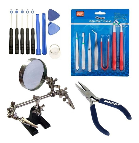 Imagem 1 de 10 de Kit Ferramentas Lupa Garra Pinças Alicate Consertos Placas
