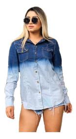 Camisa Jeans Feminina, Degrade, 2 Cores, Diversos Modelos