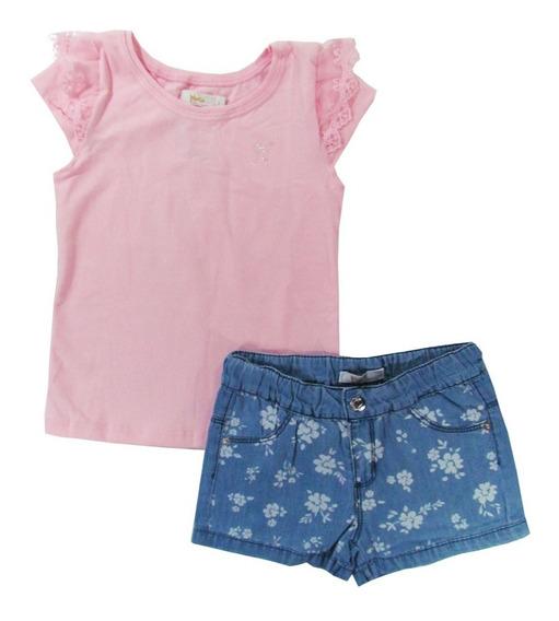 Conjunto Bebê Infantil Shorts Jeans Com Flores - Trick Nick