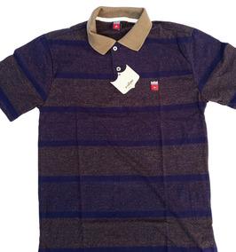 Camisa Polo Os Vaqueiros Ref. 6050 Listra Marrom/azul