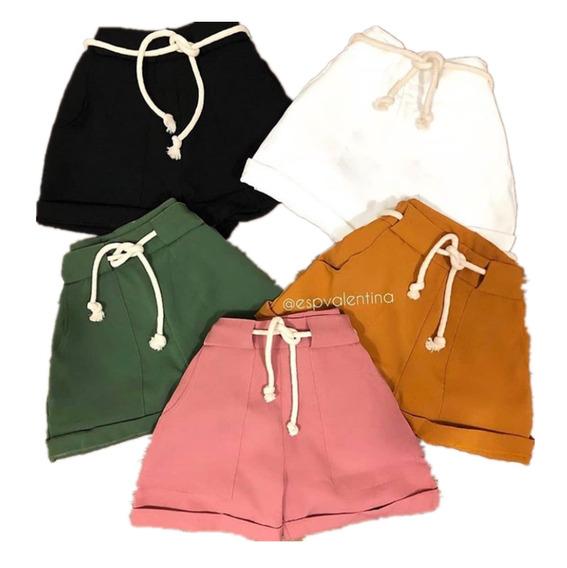 2 Shorts Feminino Cintura Alta Cordão Bolsos Moda Bengaline