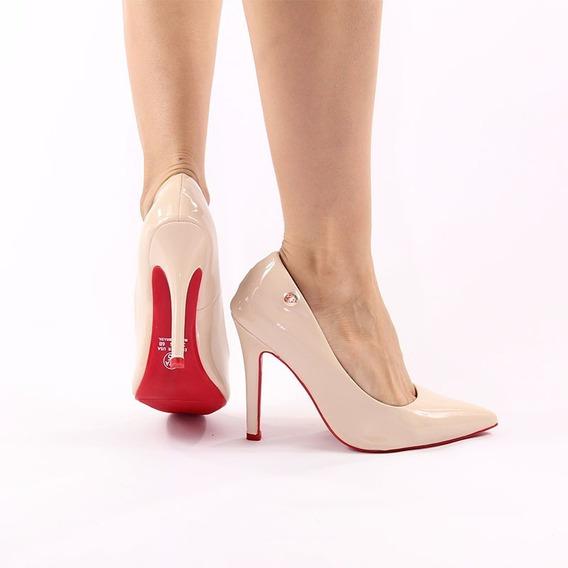 Scarpin Sapato Feminino Nude Verniz-solado Vermelho Sangue*
