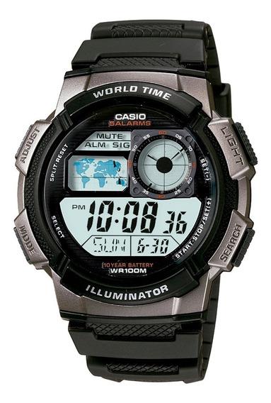 Relógio Casio Ae1000w-1b Borracha Mapa Cronometro 5 Alarmes