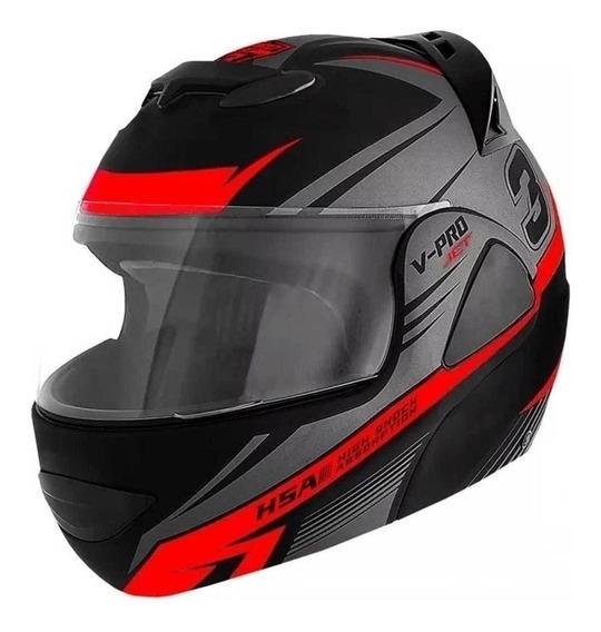 Capacete para moto escamoteável Pro Tork V-Pro Jet 3 cinza/vermelho XL