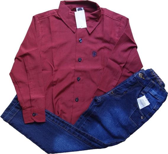 Calça Jeans Infantil Juvenil Menino + Camisa Do 10 Ao 12