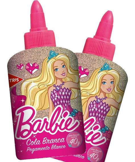 Cola Branca Escolar Barbie Com Lacre Protetor 40g Tris
