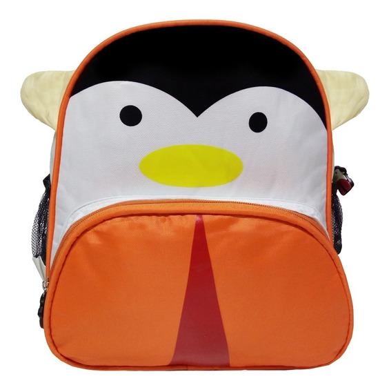 Mochila Escola Zoo Infantil Pinguim Pequena Bichinho Passeio