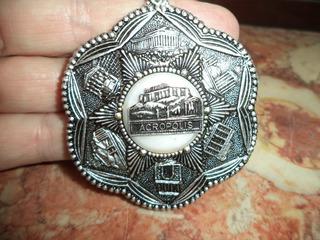 Medalhão Grego Original Cenas Gregas Aluminio Prata